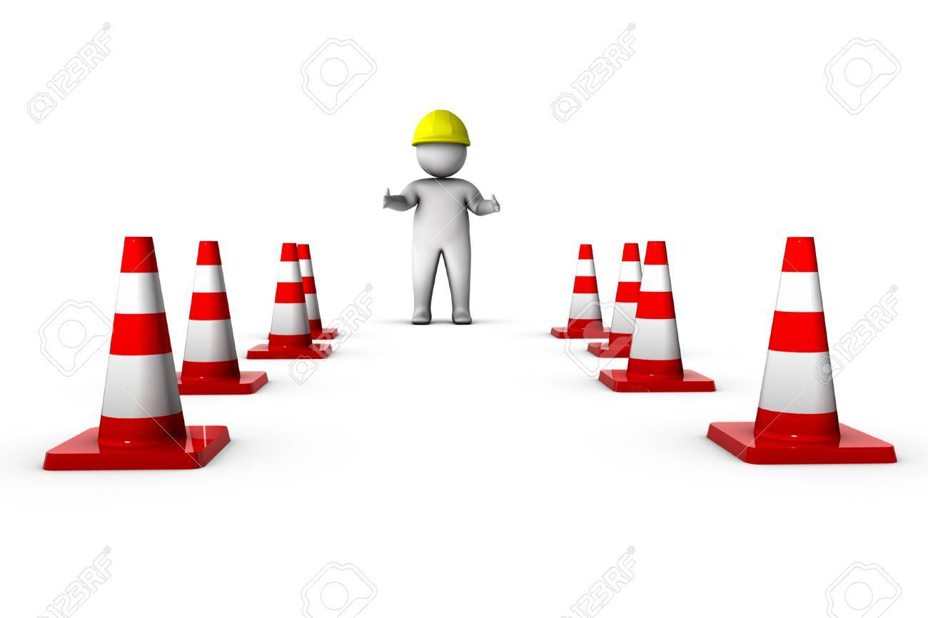3d worker with traffic cones Stock Photo - 11256957