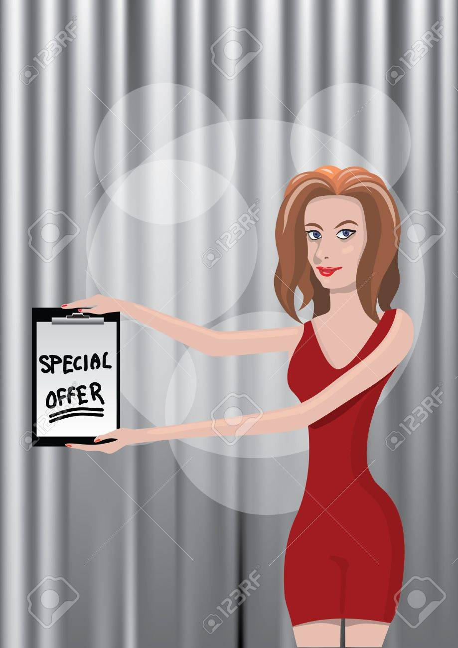 woman holding special offer sheet Stock Vector - 11740436
