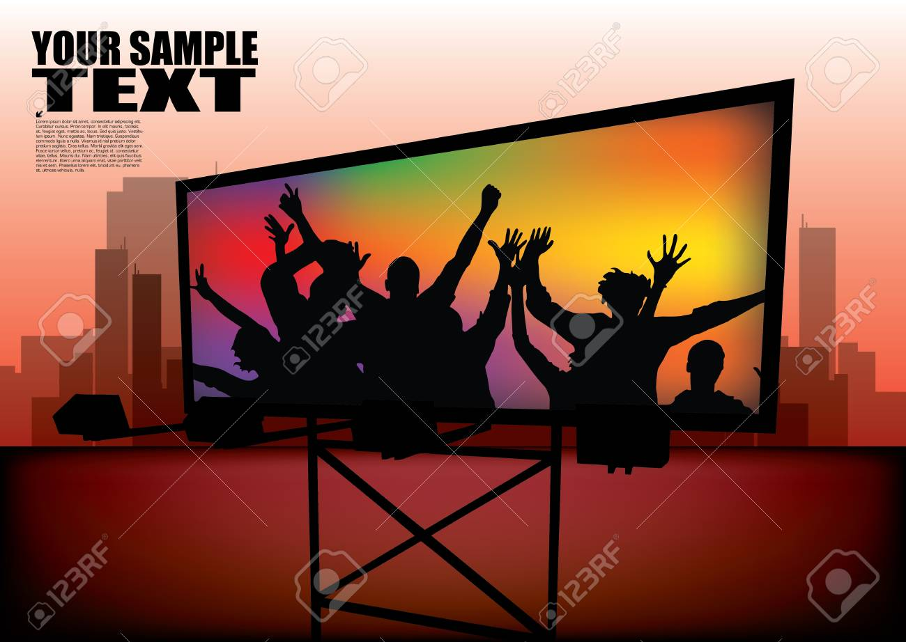 party billboard on city background Stock Vector - 12062613