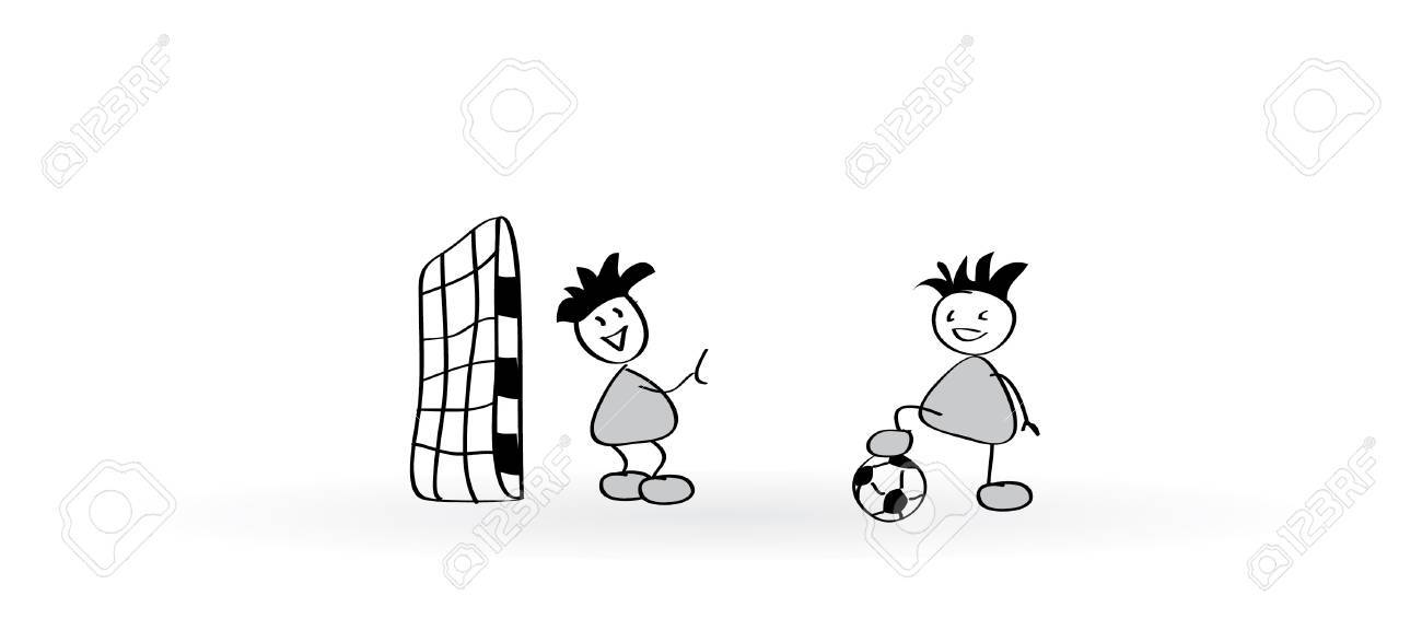 Two Comic Soccer Players Sketch Illustration
