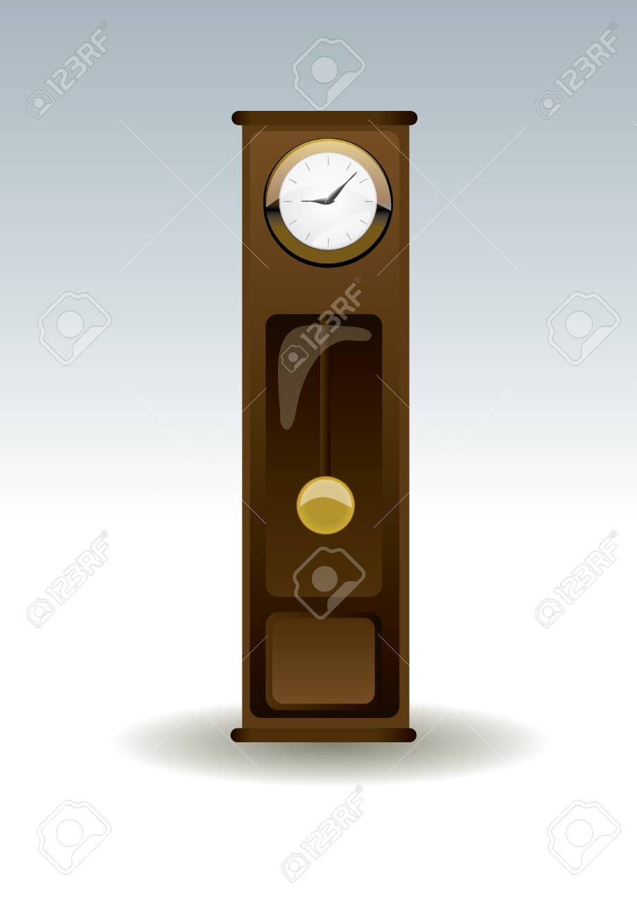 isolated old-fashion wooden clock Stock Vector - 14612968