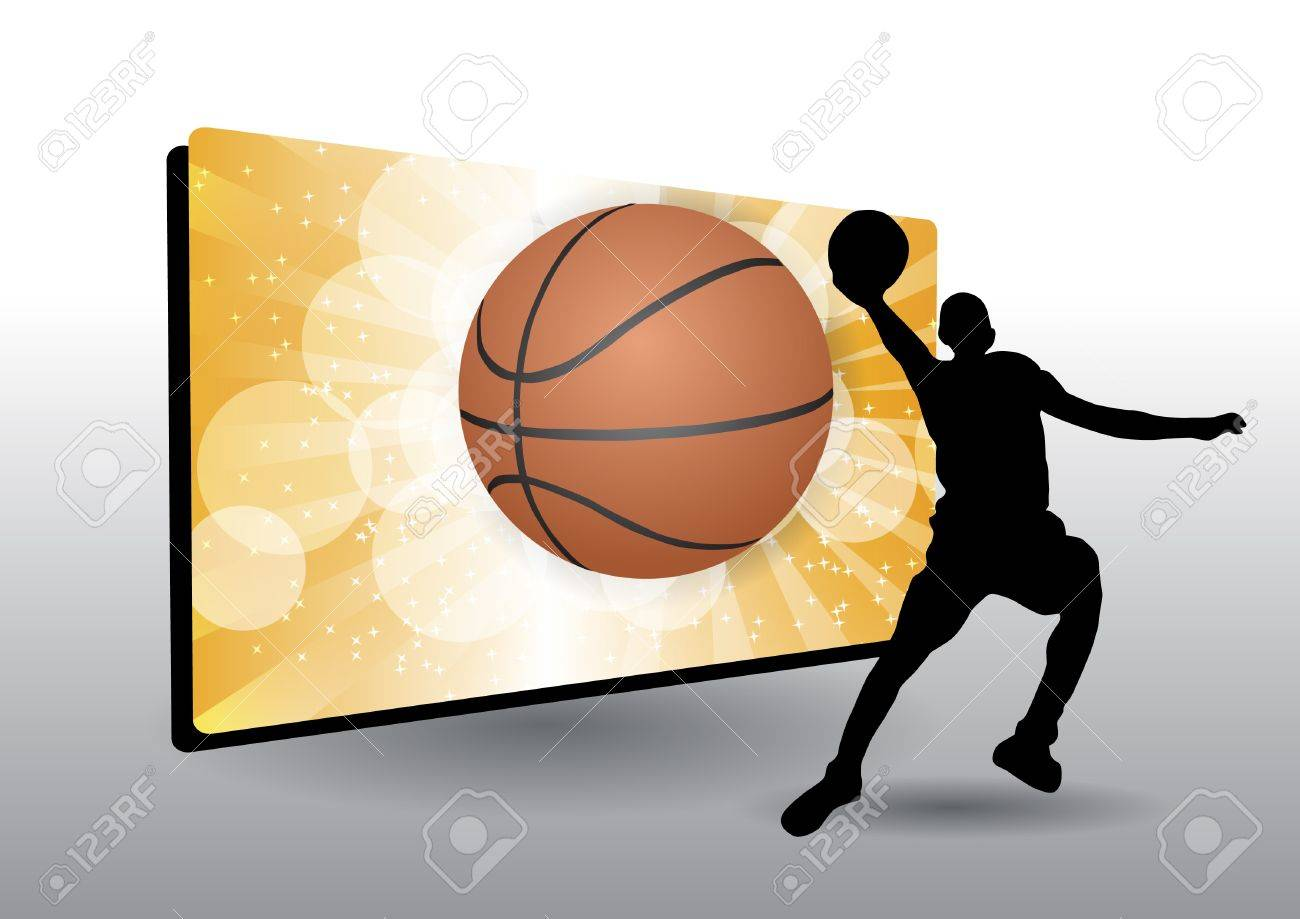Basketball Frame With Basketball Player Royalty Free Cliparts ...