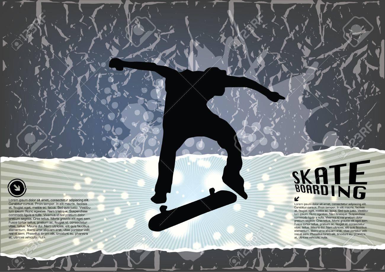 grunge skateboarding background Stock Vector - 15145219