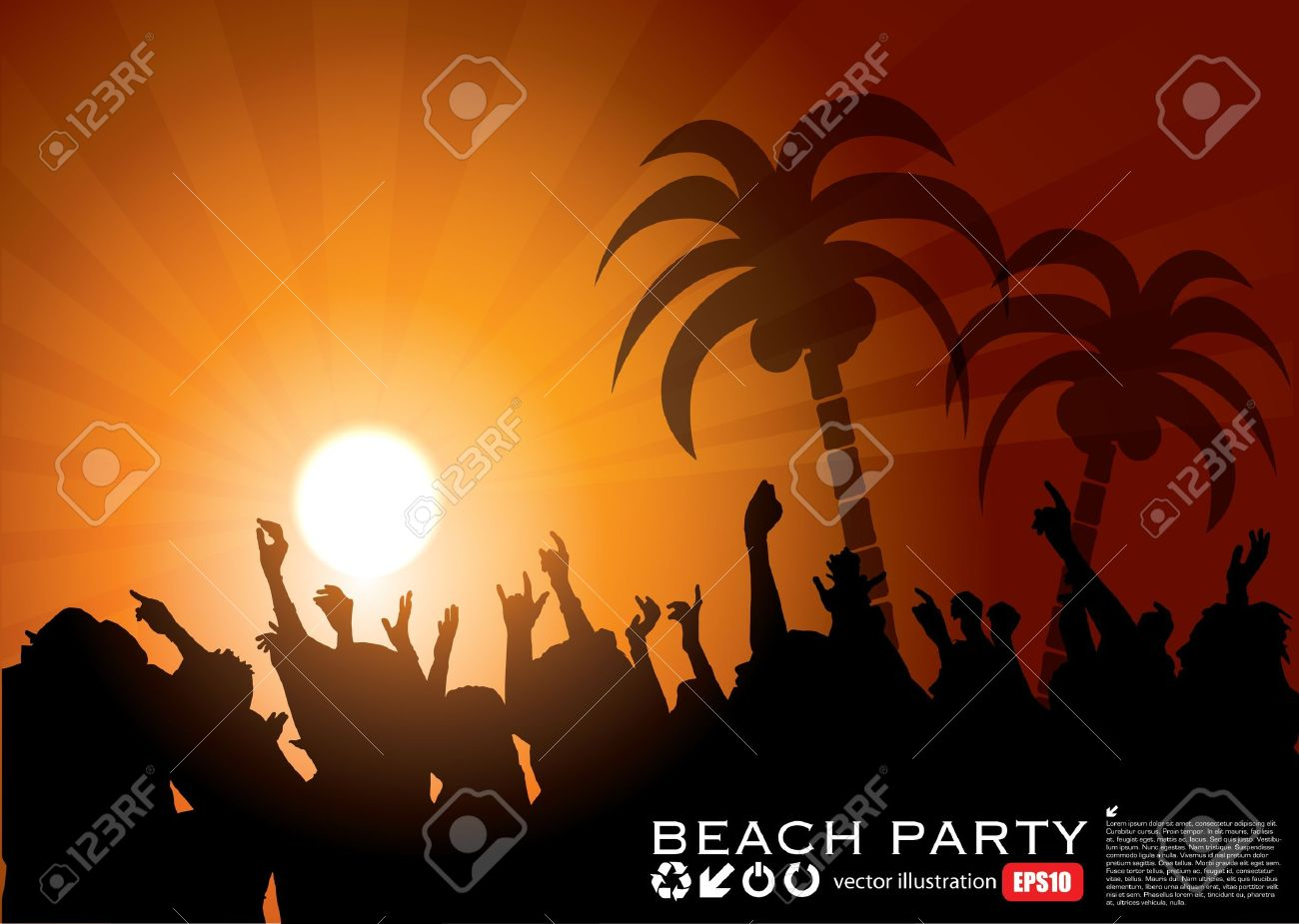 Summer Beach Party Background Stock Vector - 15280282