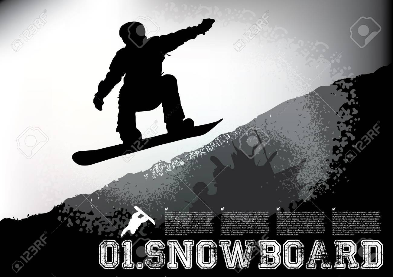 snowboarder gray-scale background Stock Vector - 16933297