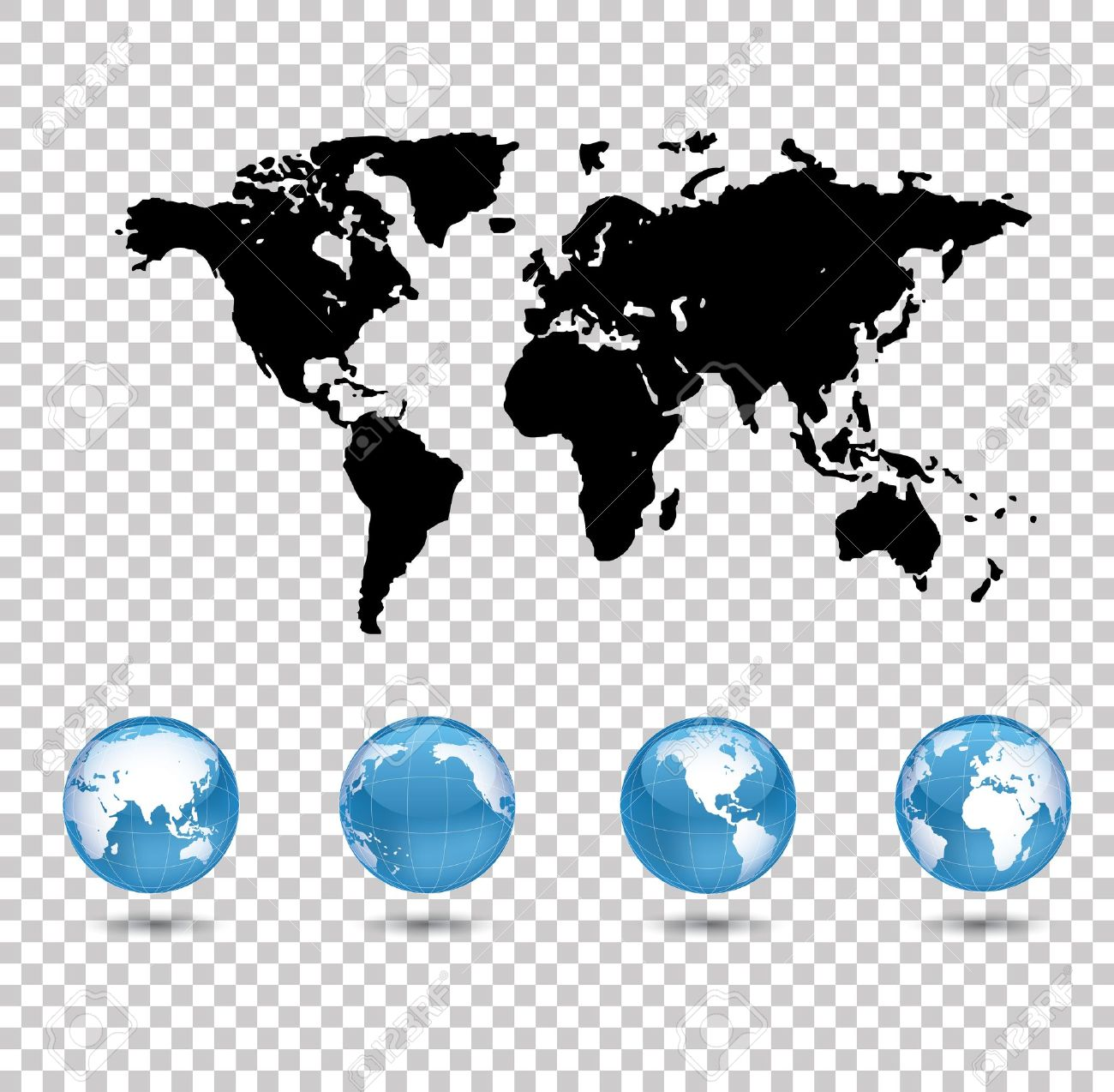 World map and four world globes on transparent background royalty vector world map and four world globes on transparent background gumiabroncs Gallery