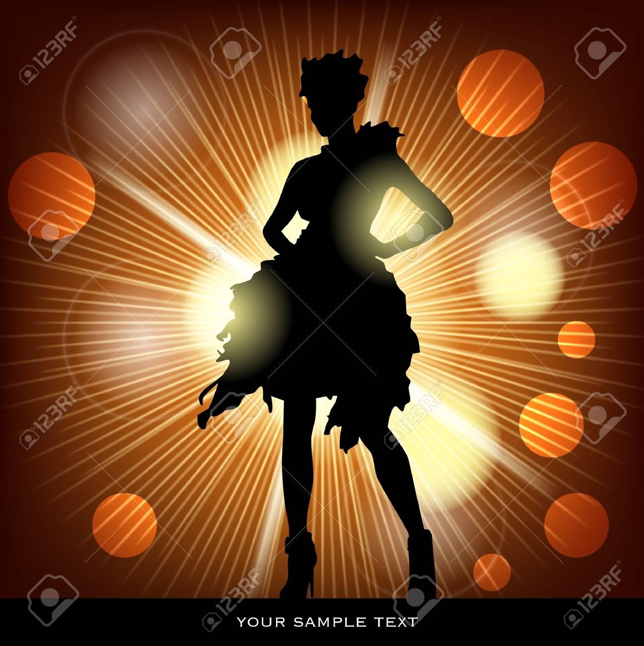 woman in spot light Stock Vector - 17627541