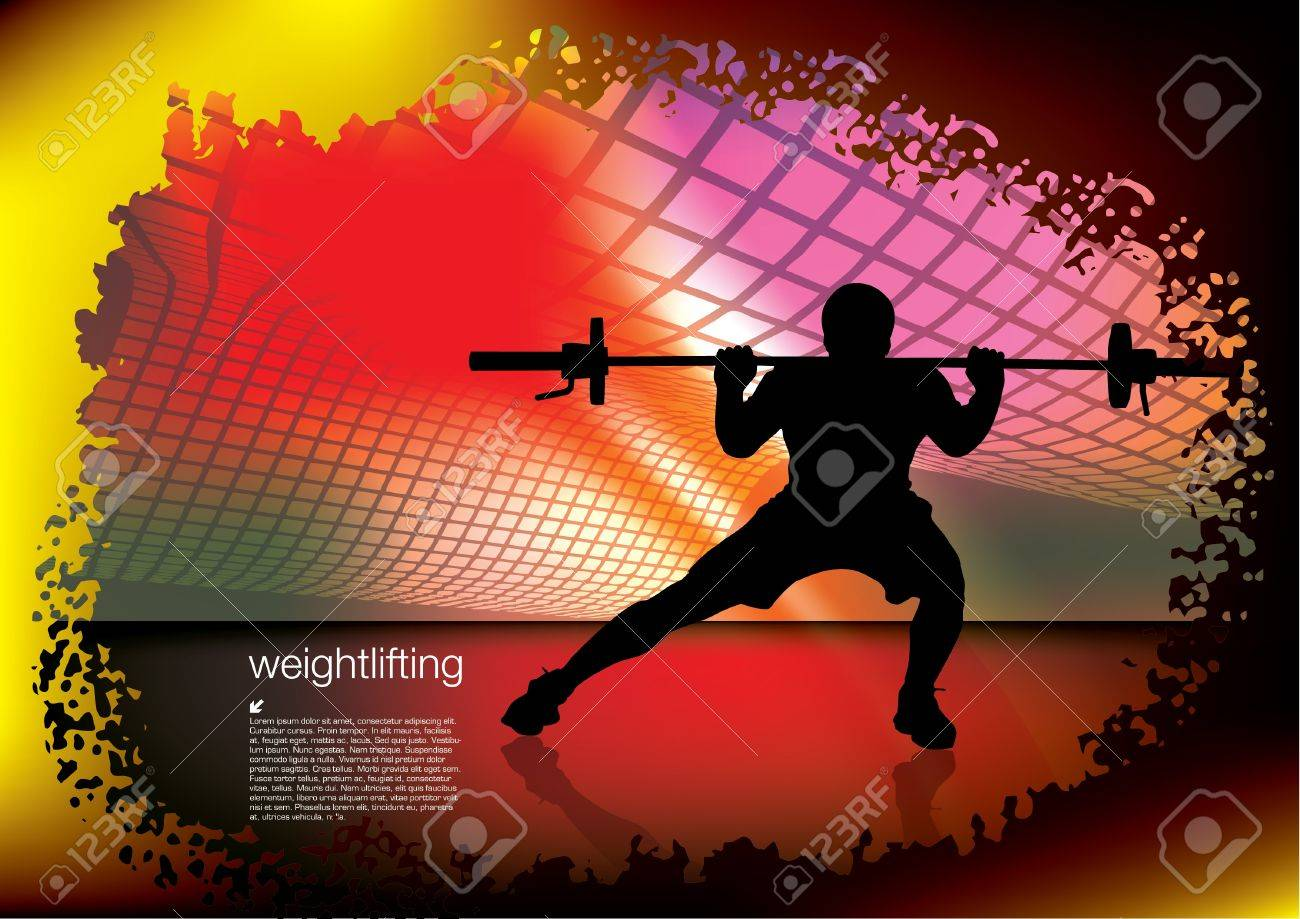 weightlifter on abstract background Stock Vector - 17716865