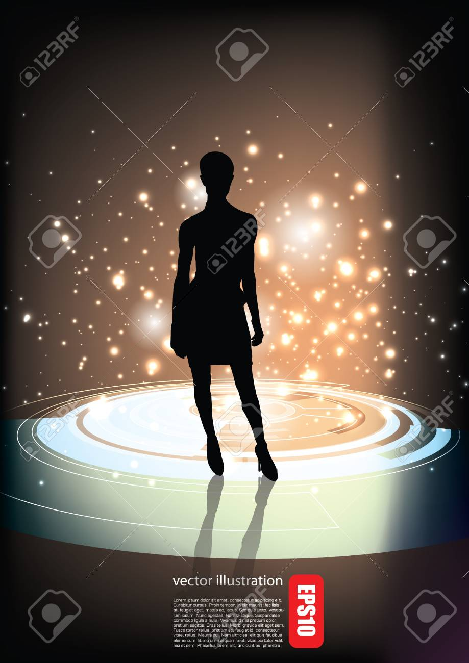 decorative woman on abstract background Stock Vector - 18847054