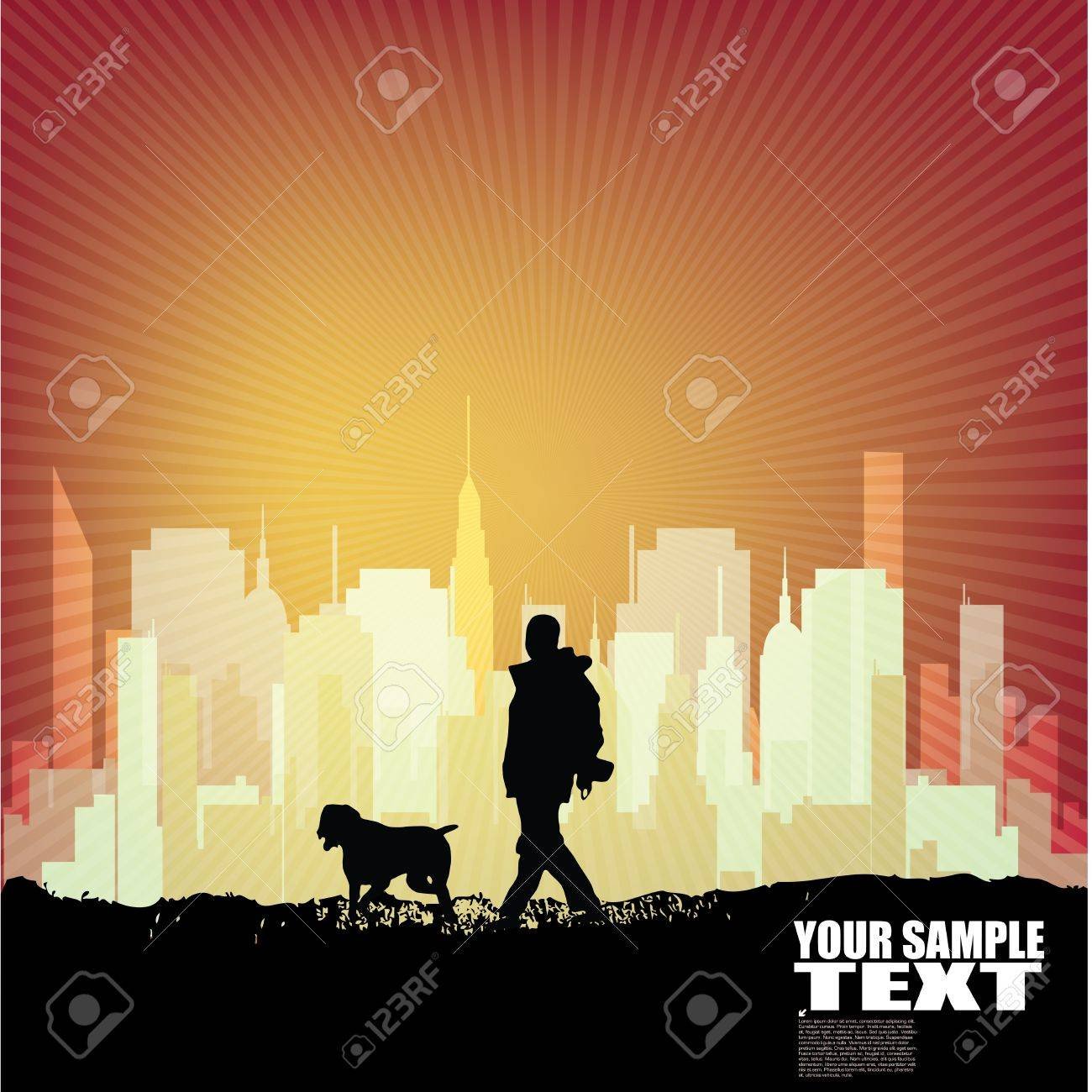 dog walking city background Stock Vector - 21168119