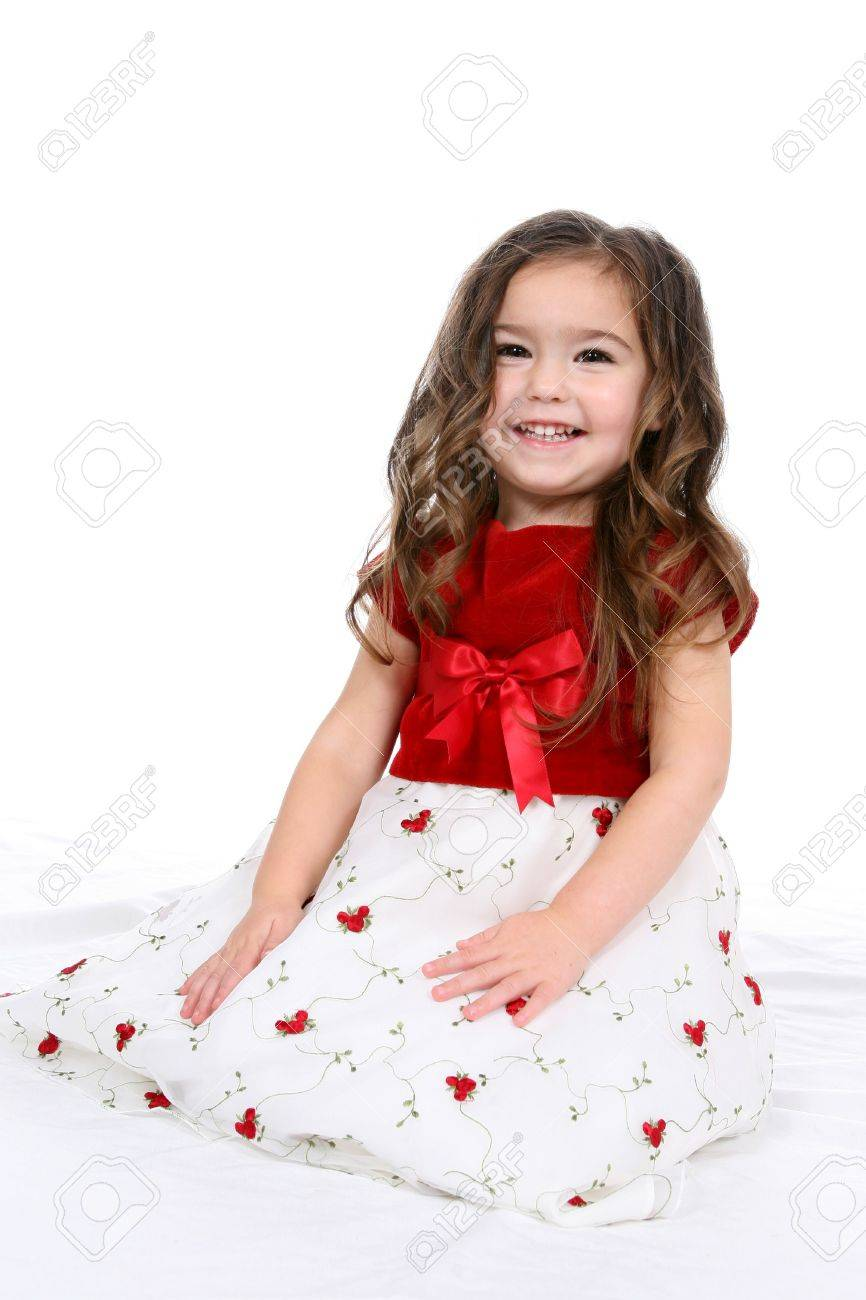 Pretty little girl in red and white christmas or valentine's day dress. Stock Photo - 3150770