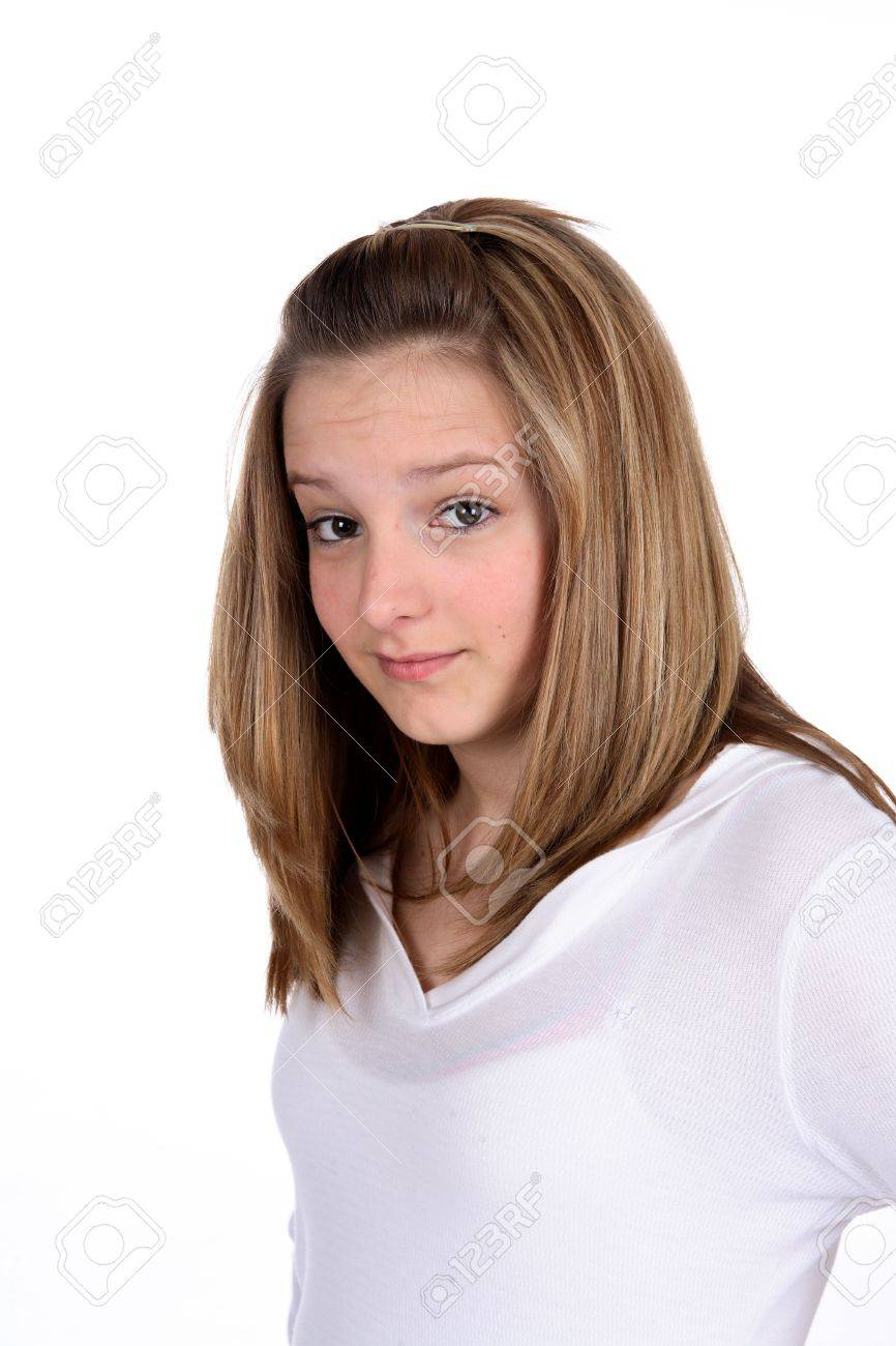Pretty Teenage Girl With Her Eyebrows Raised Stock Photo Picture