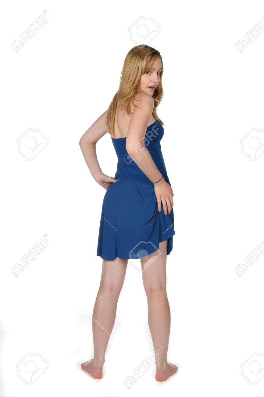 pretty sexy young woman in blue dress from behind and lifting up the side Stock Photo - 3752219