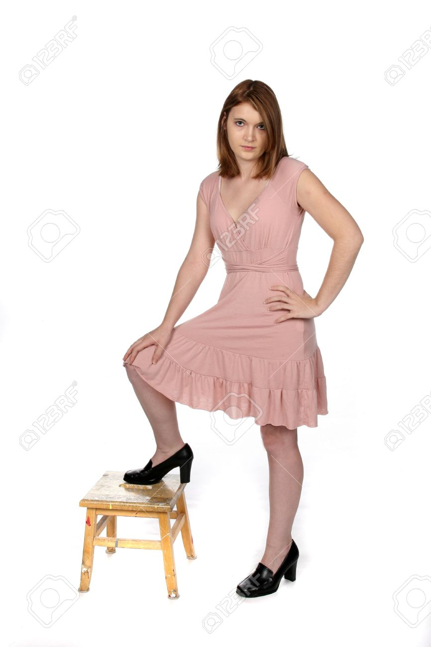 Pretty Teenage Girl In Pink Dress And Black Shoes Stock Photo ...