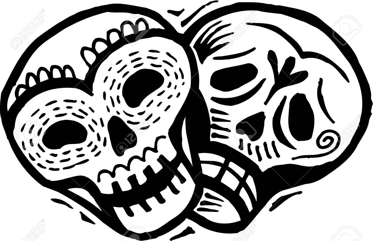A black and white drawing of two skulls with happy and sad expressions Stock Photo - 14853412