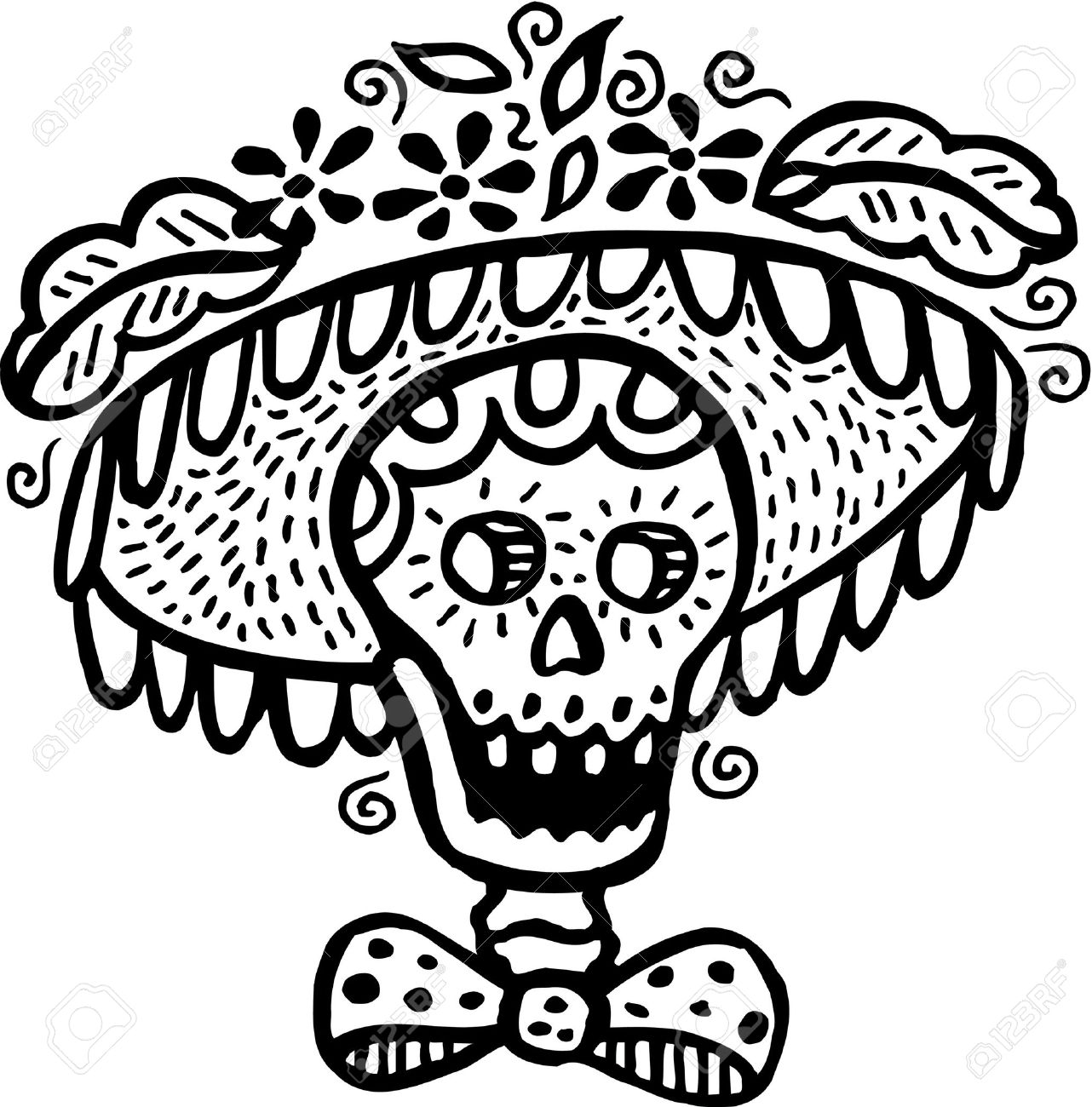 A black and white picture of a skull wearing a hat Stock Photo - 14853425