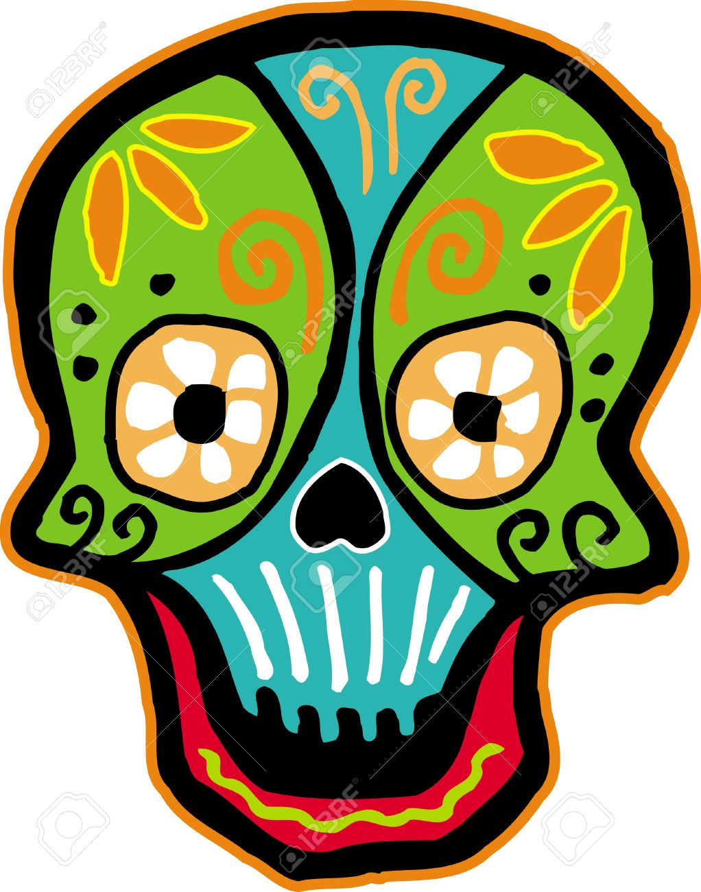 A colourful smiling skull on white background Stock Photo - 14864927