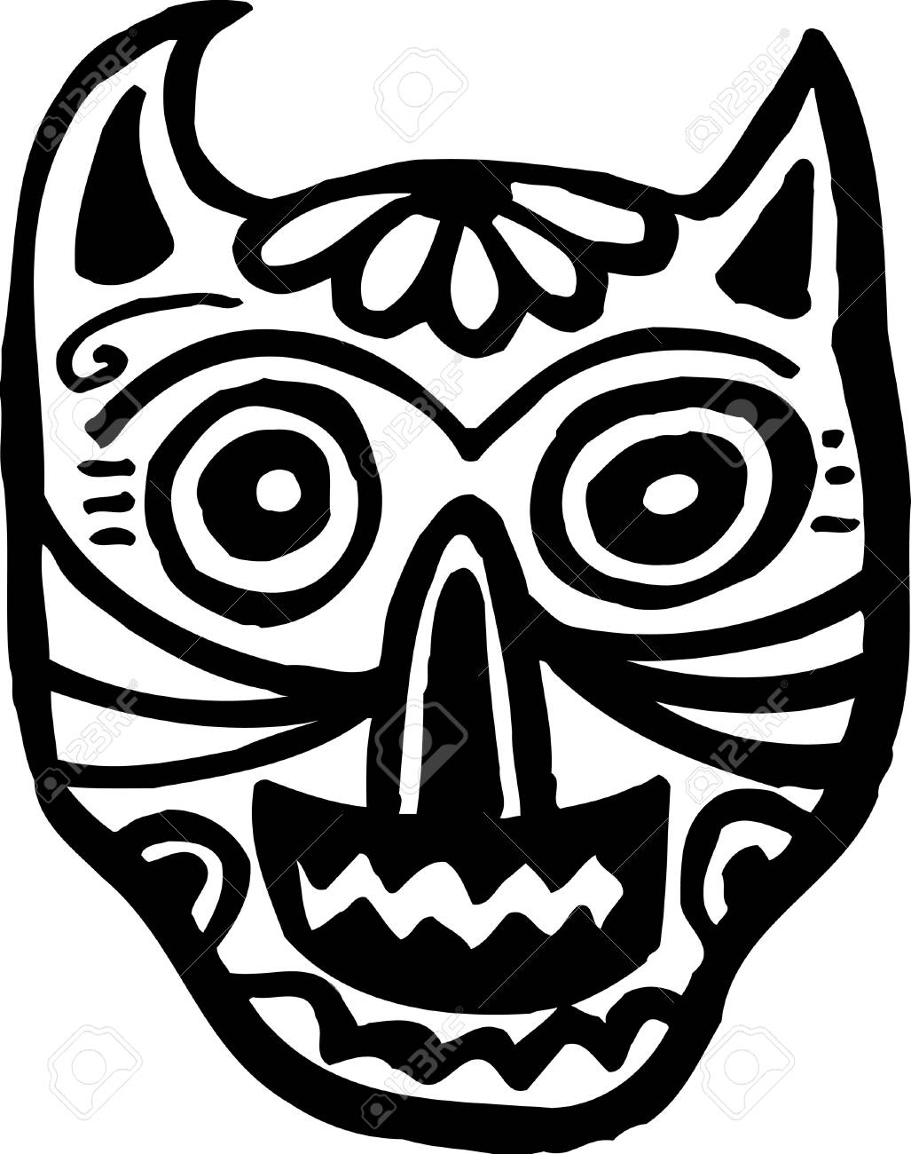 A black and white cat skull graphically represented Stock Photo - 14864855