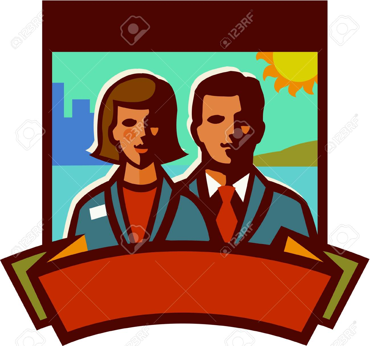 Illustration of a businessman and a businesswoman Stock Illustration - 14864803