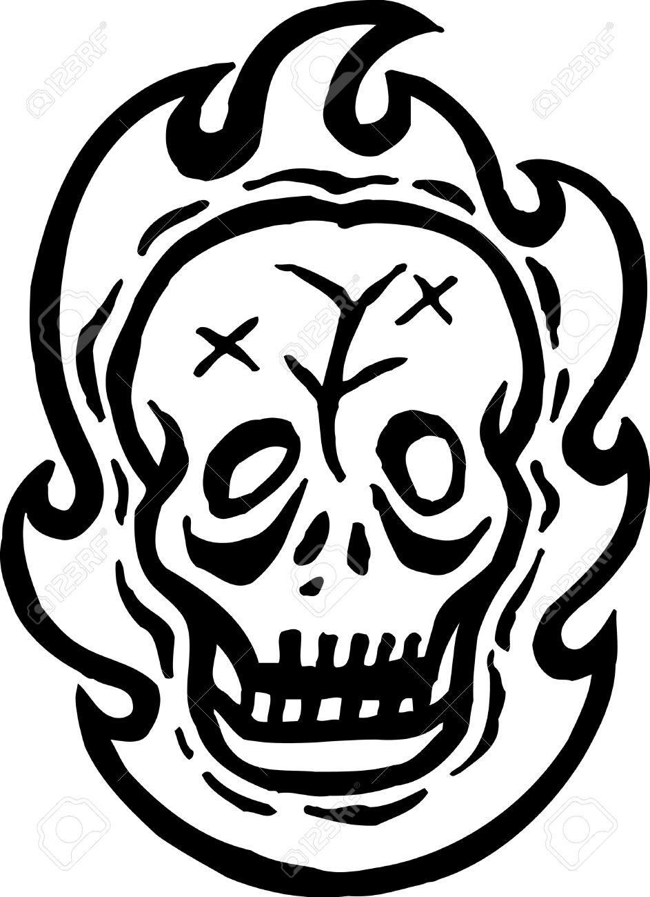Un Dibujo En Blanco Y Negro De Un Cráneo Y Del Fuego Fotos Retratos