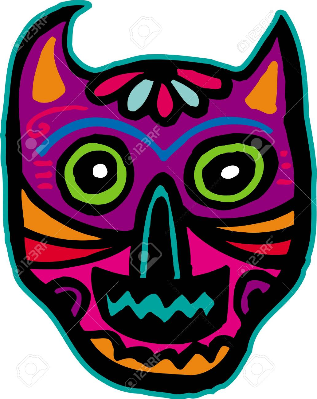 An illustration of a purple cat skull Stock Illustration - 14865151