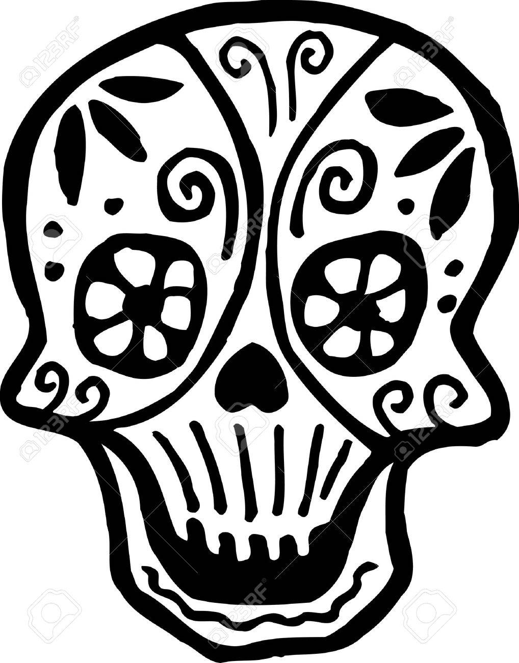 A skull with flowers drawn in black and white Stock Photo - 14865132
