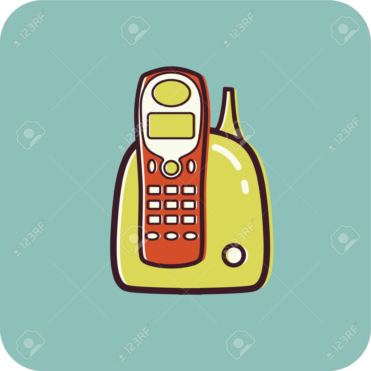 Illustration of a cordless phone on a blue background Stock Illustration - 14865008
