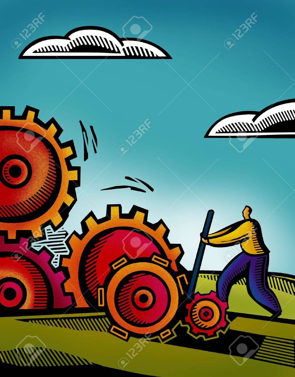 A business man working on inter connected gears Stock Photo - 14887925