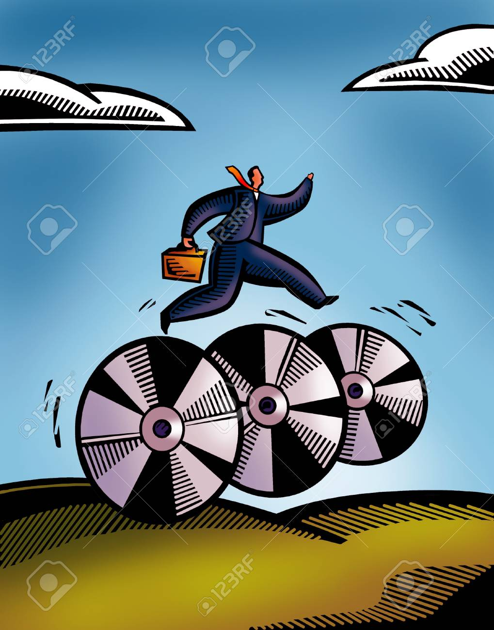 A picture of a business man rushing on wheels Stock Photo - 14887900