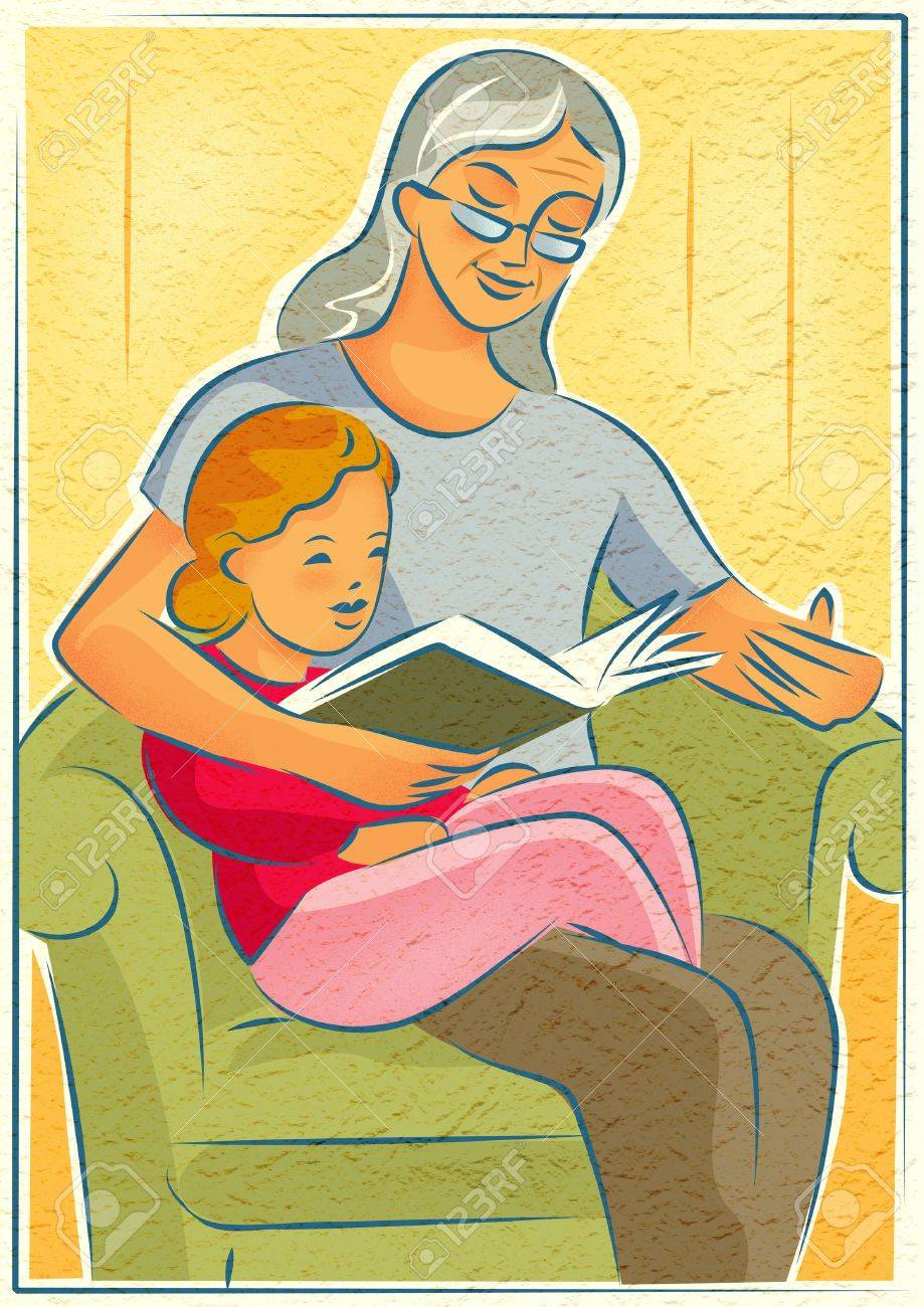 An elderly woman reading a book with a young girl Stock Photo - 14914348
