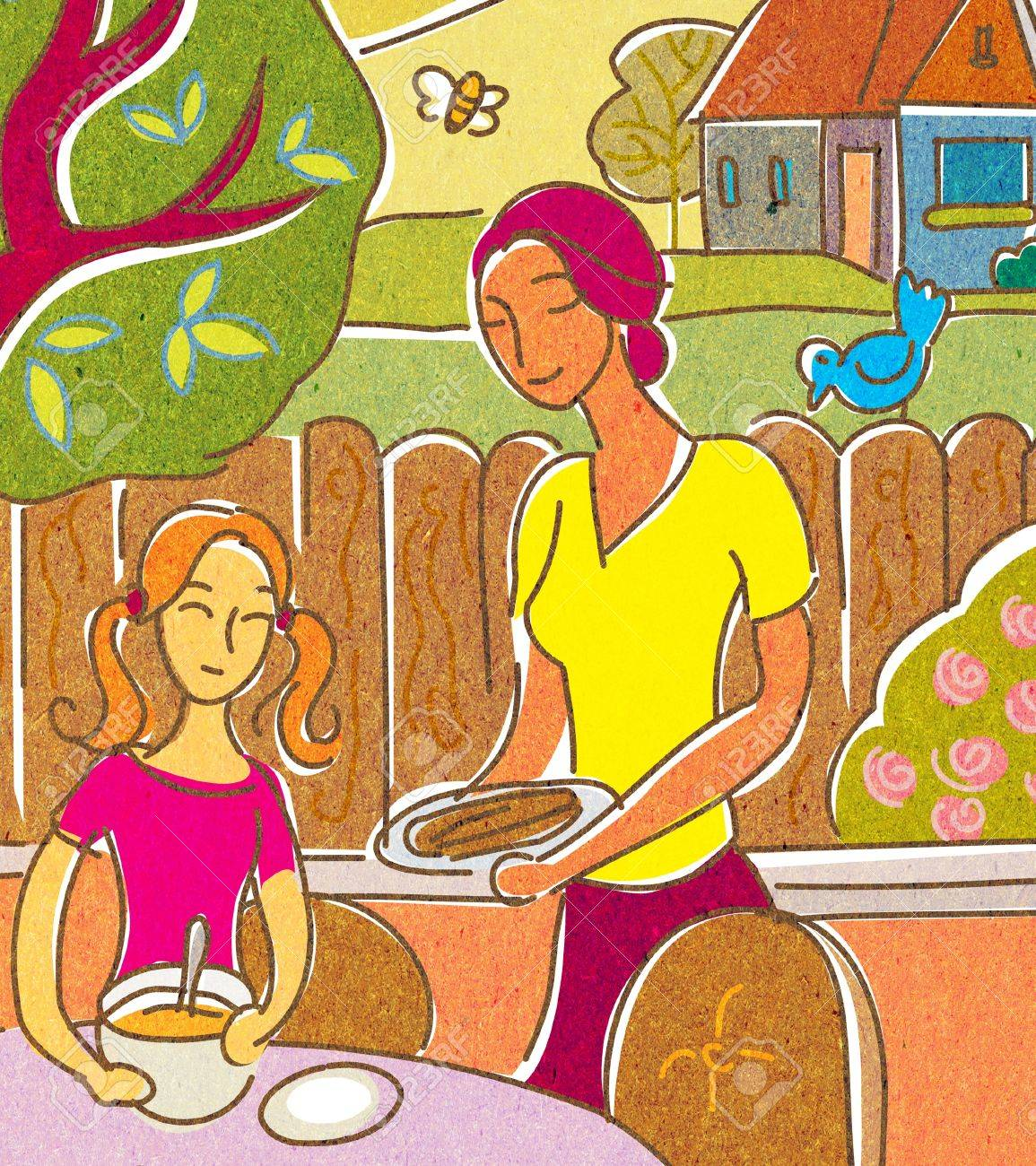 A mother and daughter having food on their outdoor patio Stock Photo - 14916572