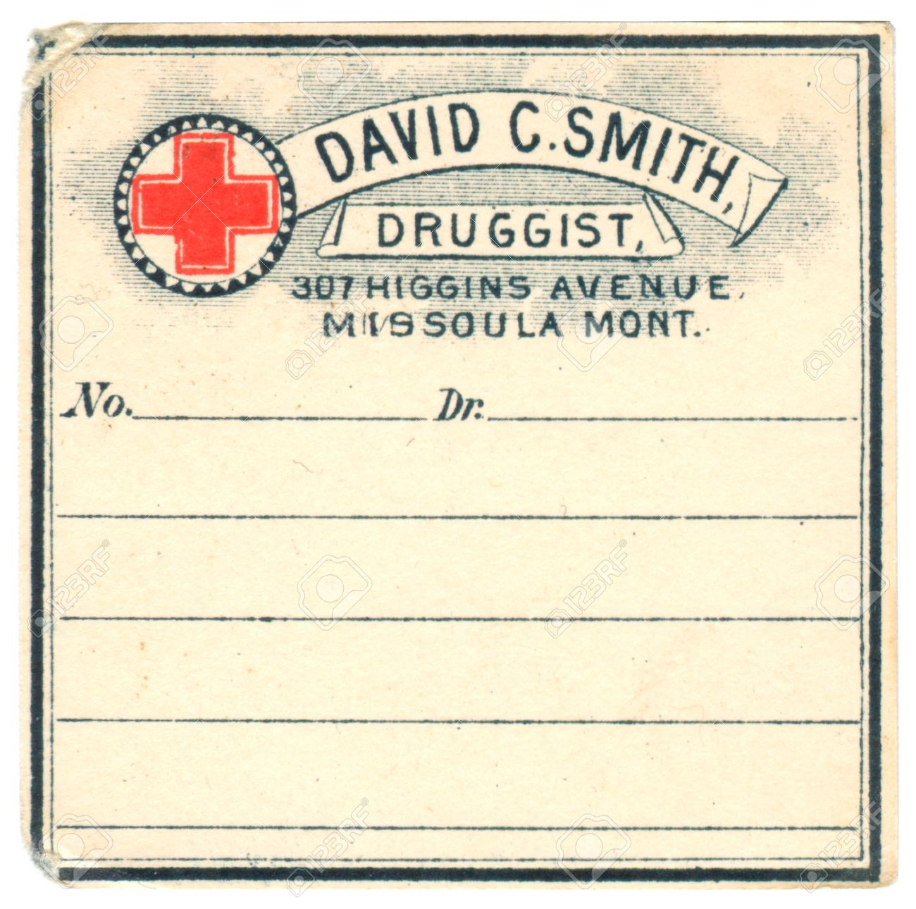 A Vintage Medicine Label From Drug Store Stock Photo