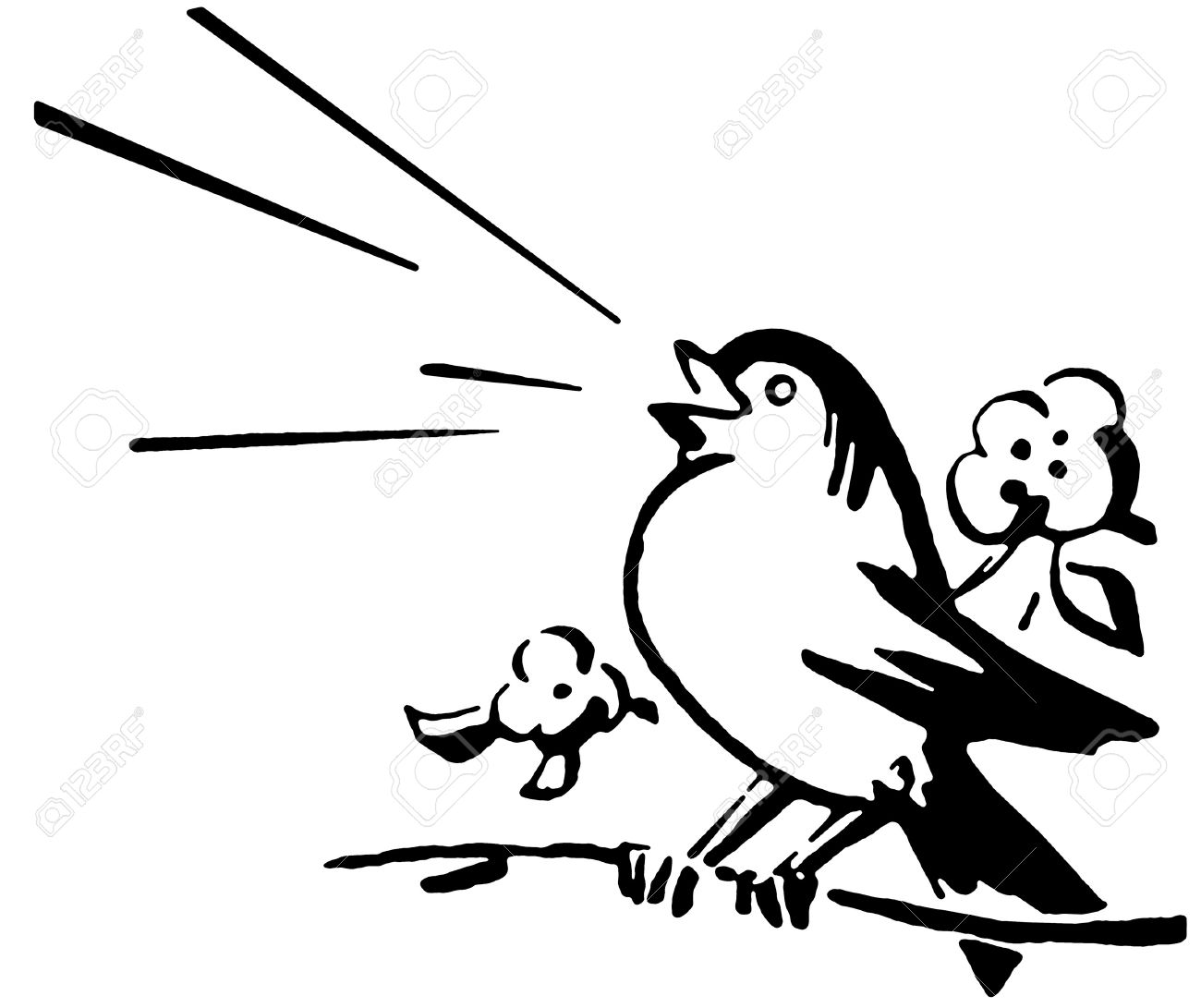 A black and white version of a bird sitting on a tree branch singing Stock Photo - 14909339