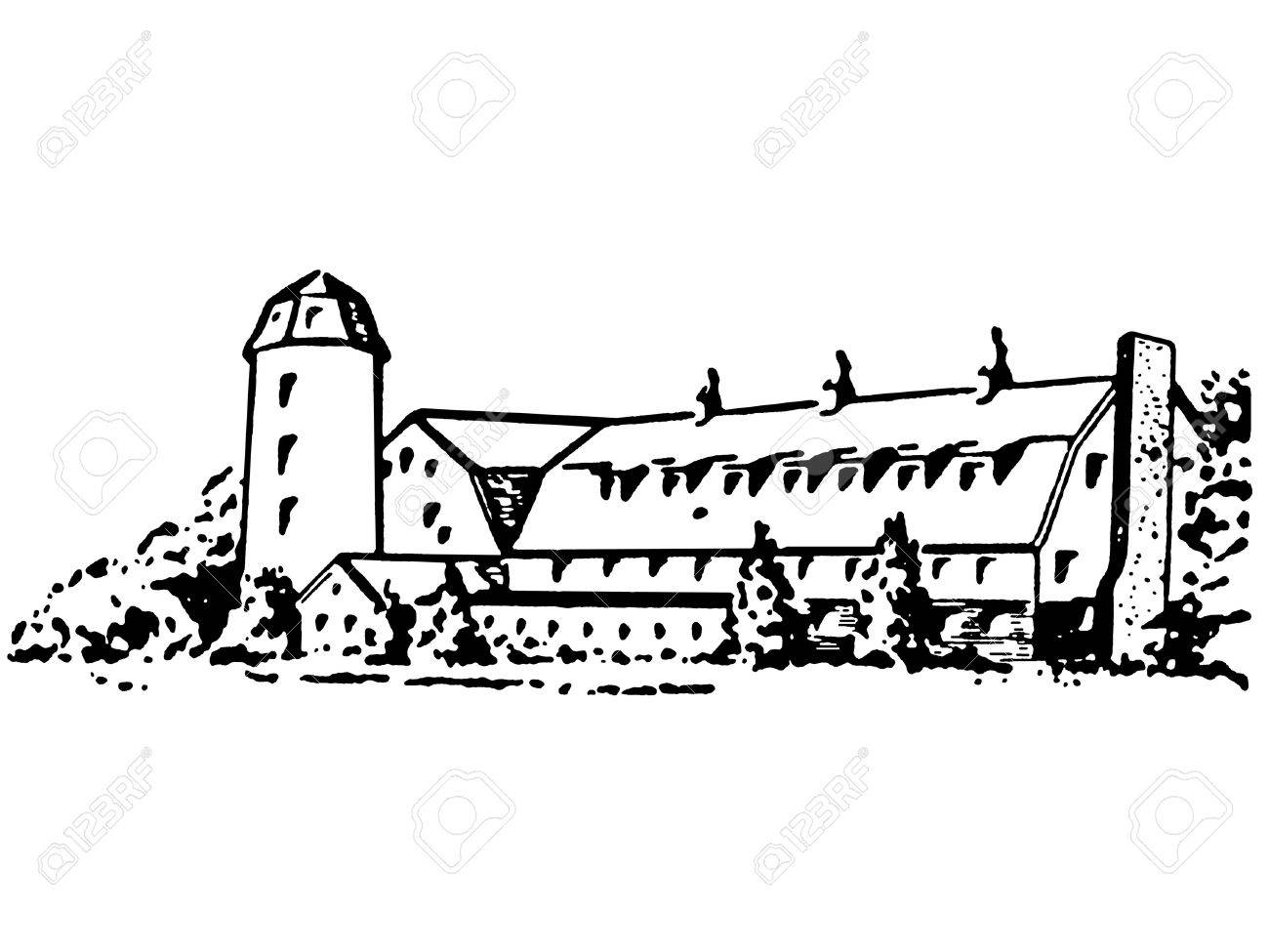 A black and white version of a large farm house and silo Stock Photo - 14911512