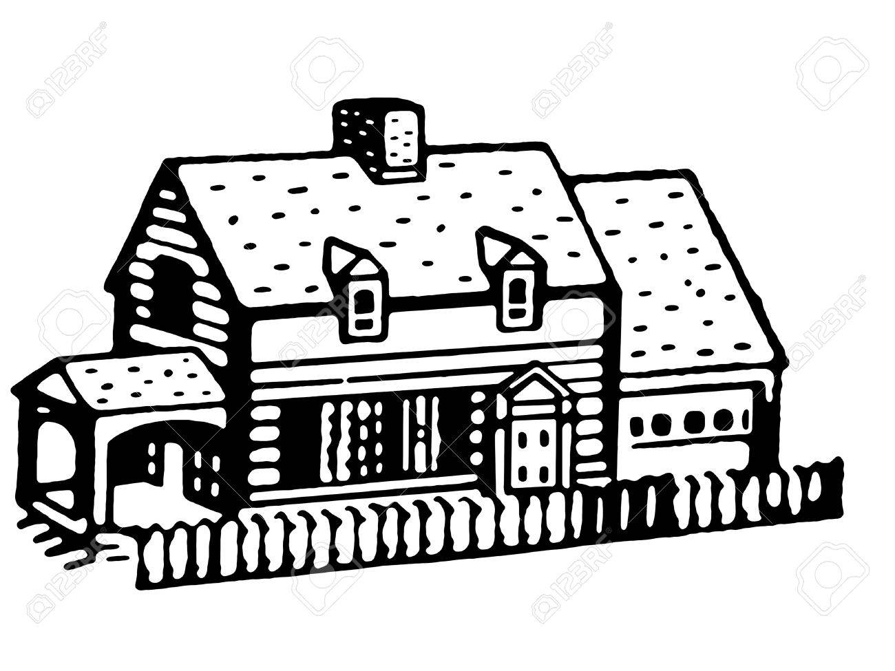 A black and white version of an illustration of a small bungalow home Stock Illustration - 14912395