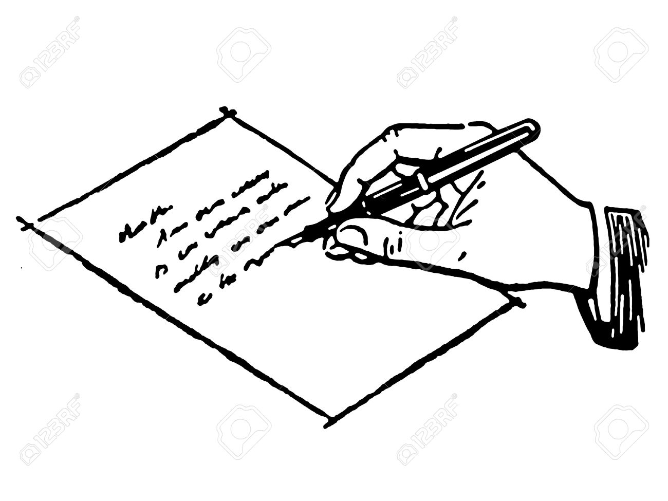 A Black And White Version Of Drawing Hand Writing Letter Stock Photo