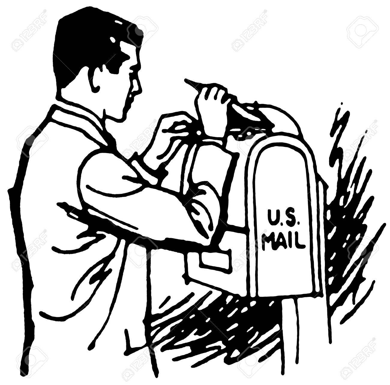 A black an white version of a businessman delivering his mail Stock Photo - 14913199