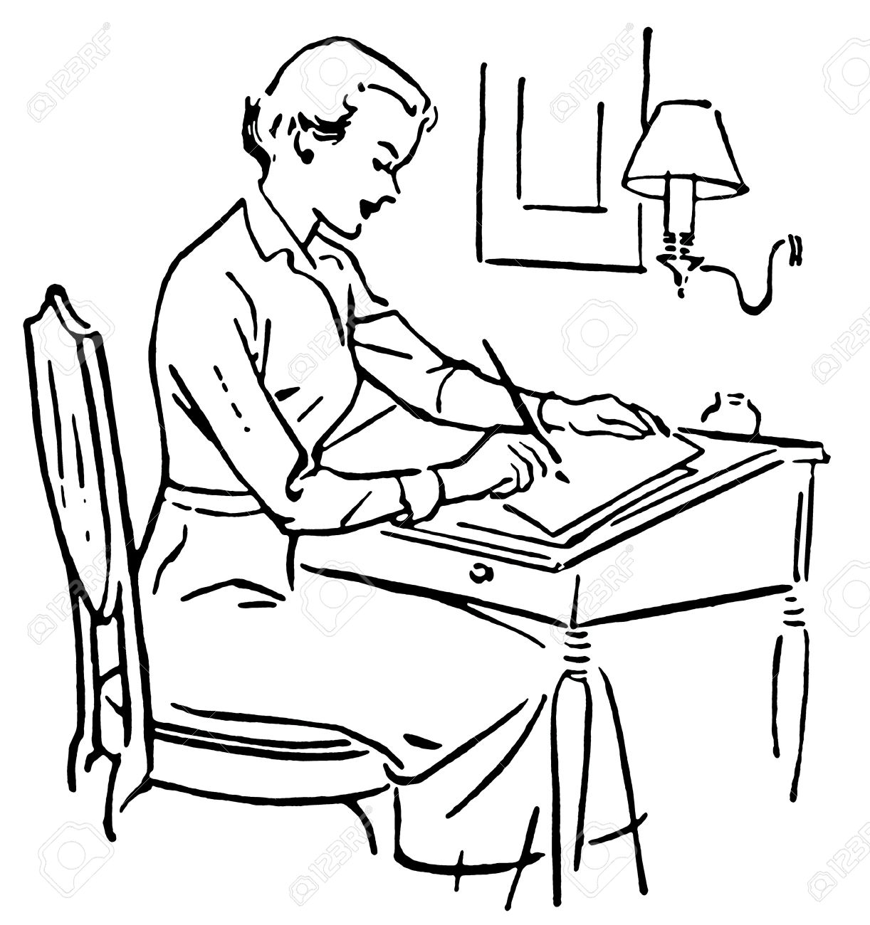 A Black And White Version Of Line Drawing Woman At Writing Desk