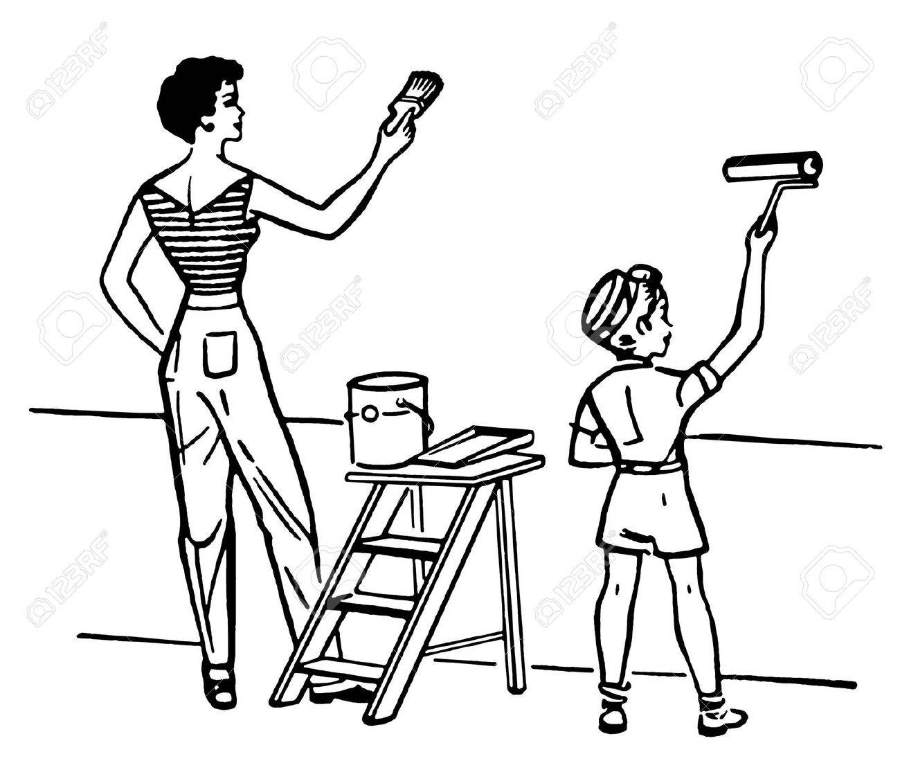 People Painting Walls Clip Art - A black and white version of a mother and child painting walls together stock photo