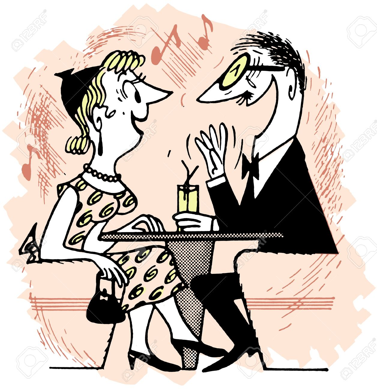 A cartoon style drawing of an excited couple Stock Photo - 14918472