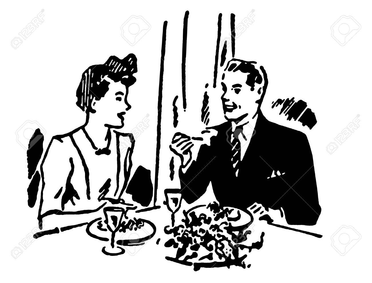 A black and white version of a vintage illustration of a couple enjoying a meal at a restaurant Stock Illustration - 14917889