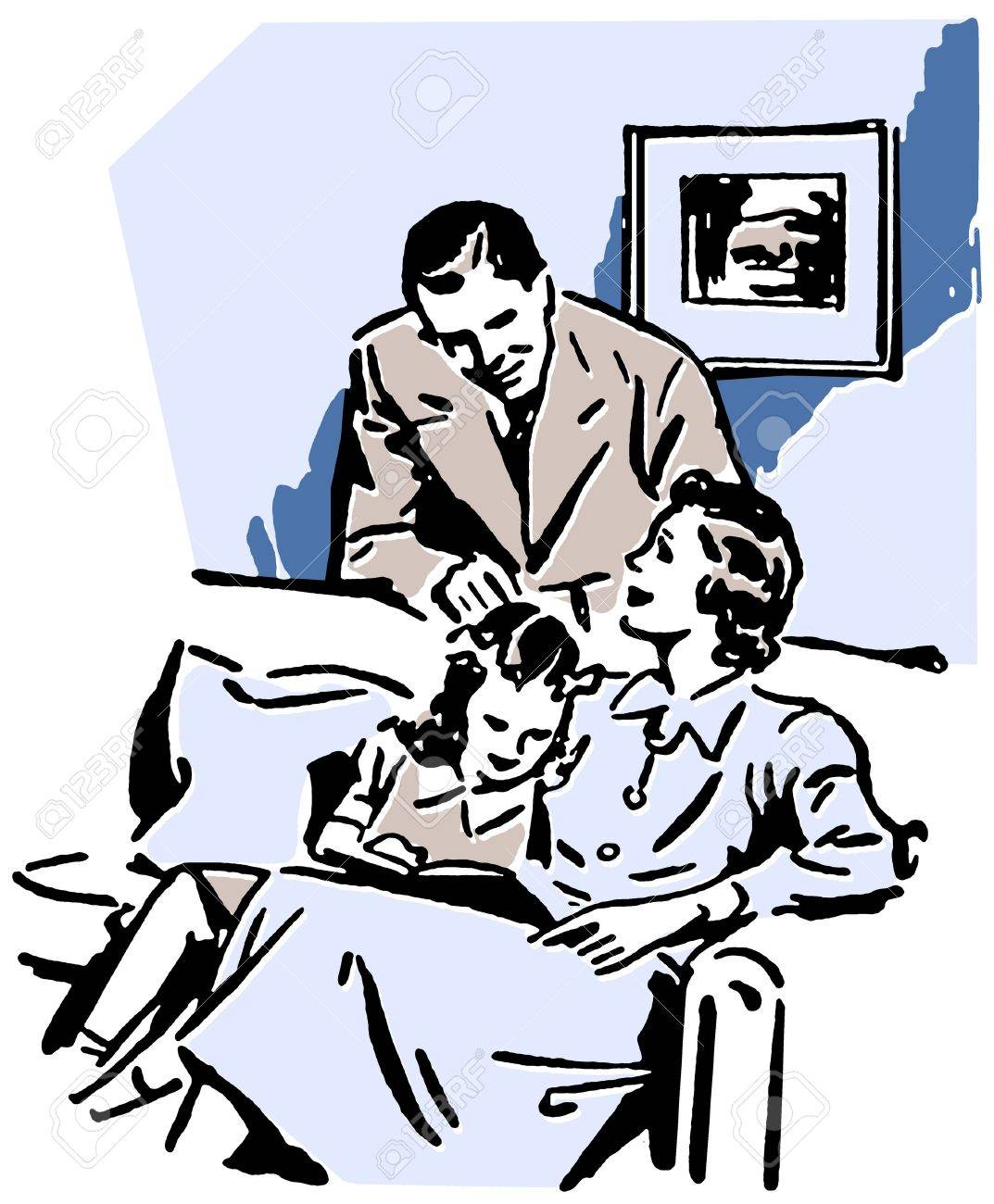A vintage illustration of a family relaxing at home Stock Illustration - 14918174