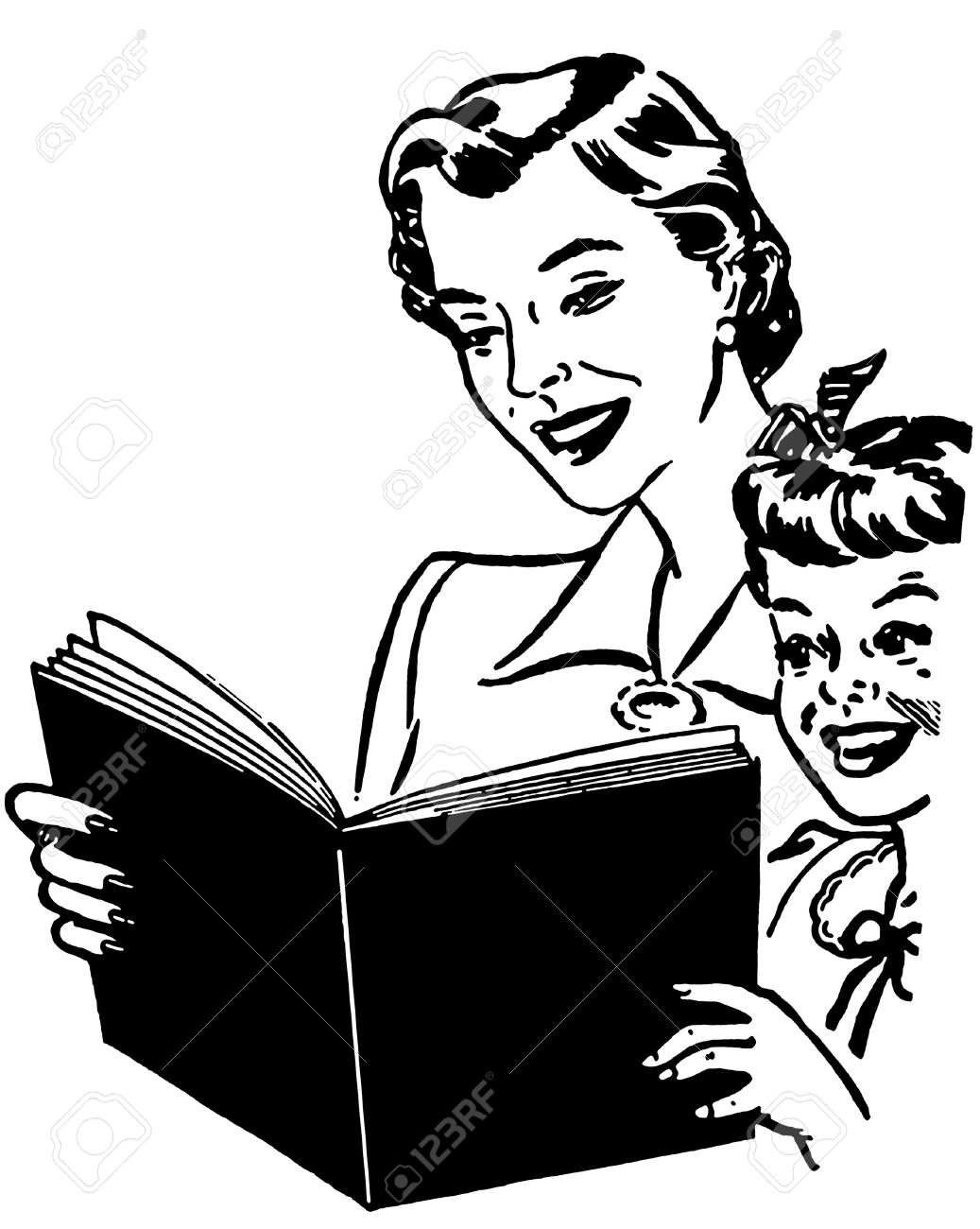 A black and white version of a mother reading to her child Stock Photo - 14917992