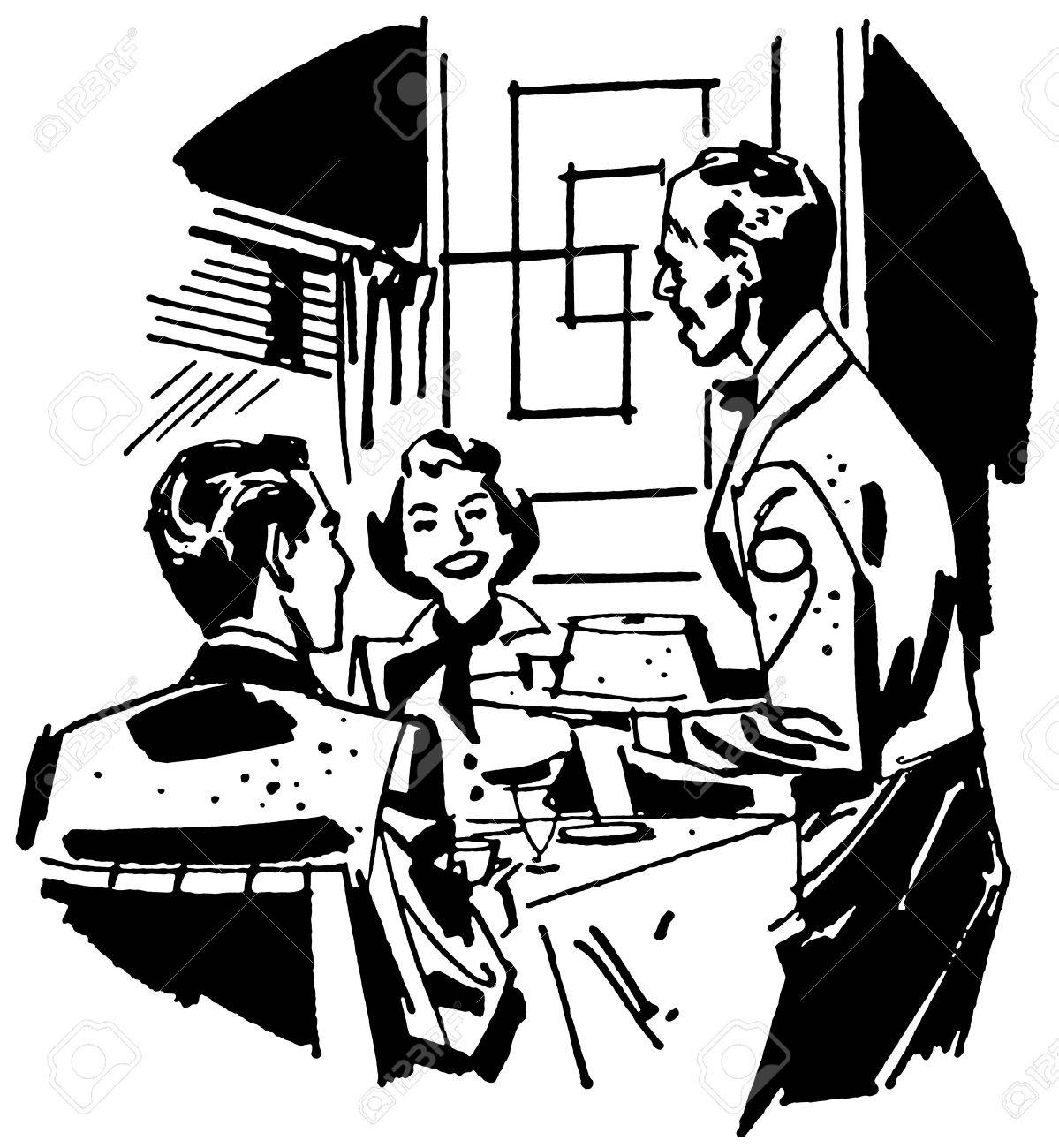 A black and white version of a vintage illustration of a couple dining at a restaurant Stock Illustration - 14918224