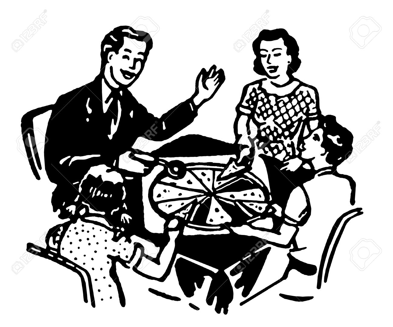 A Black And White Version Of Family Sharing Pizza Together Stock Photo