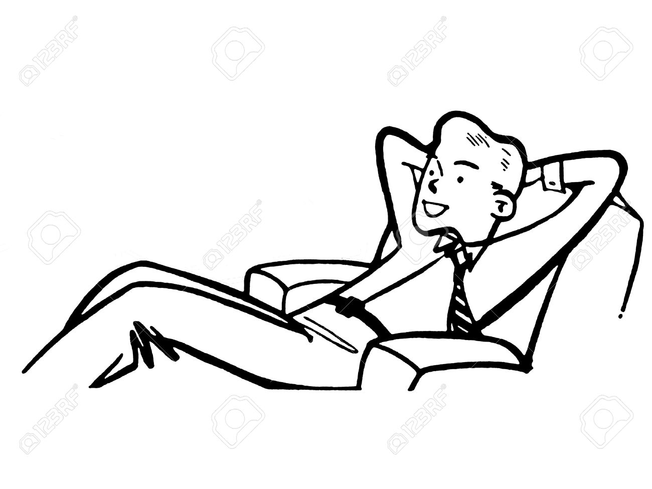a black and white version of a businessman relaxing in a lounge