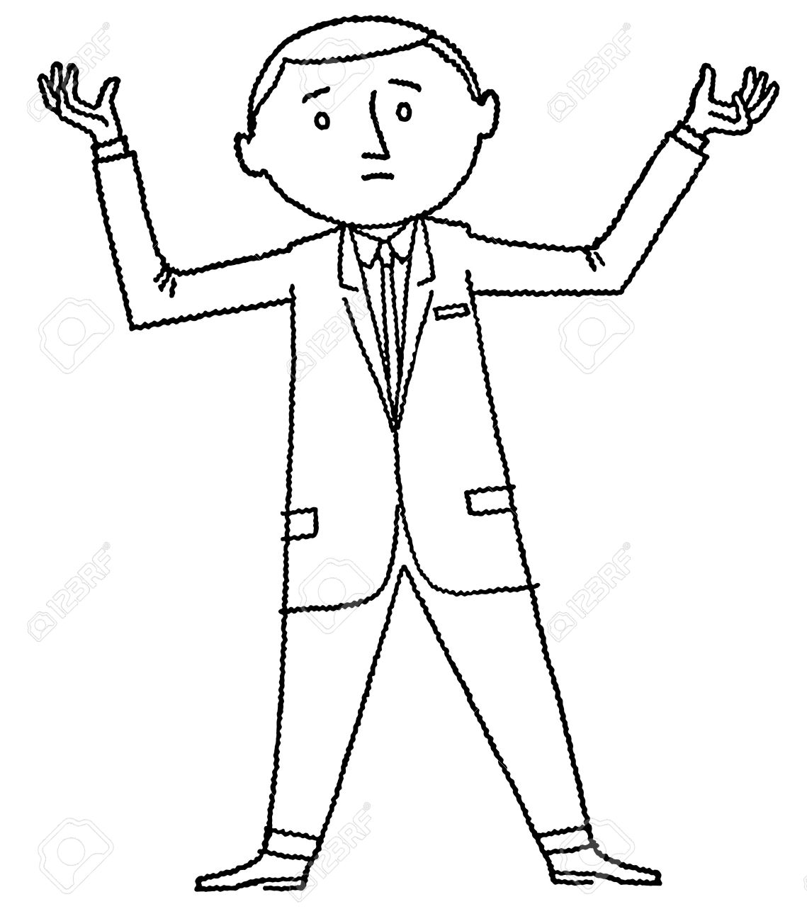 A black and white version of a cartoon style drawing of a man on the edge
