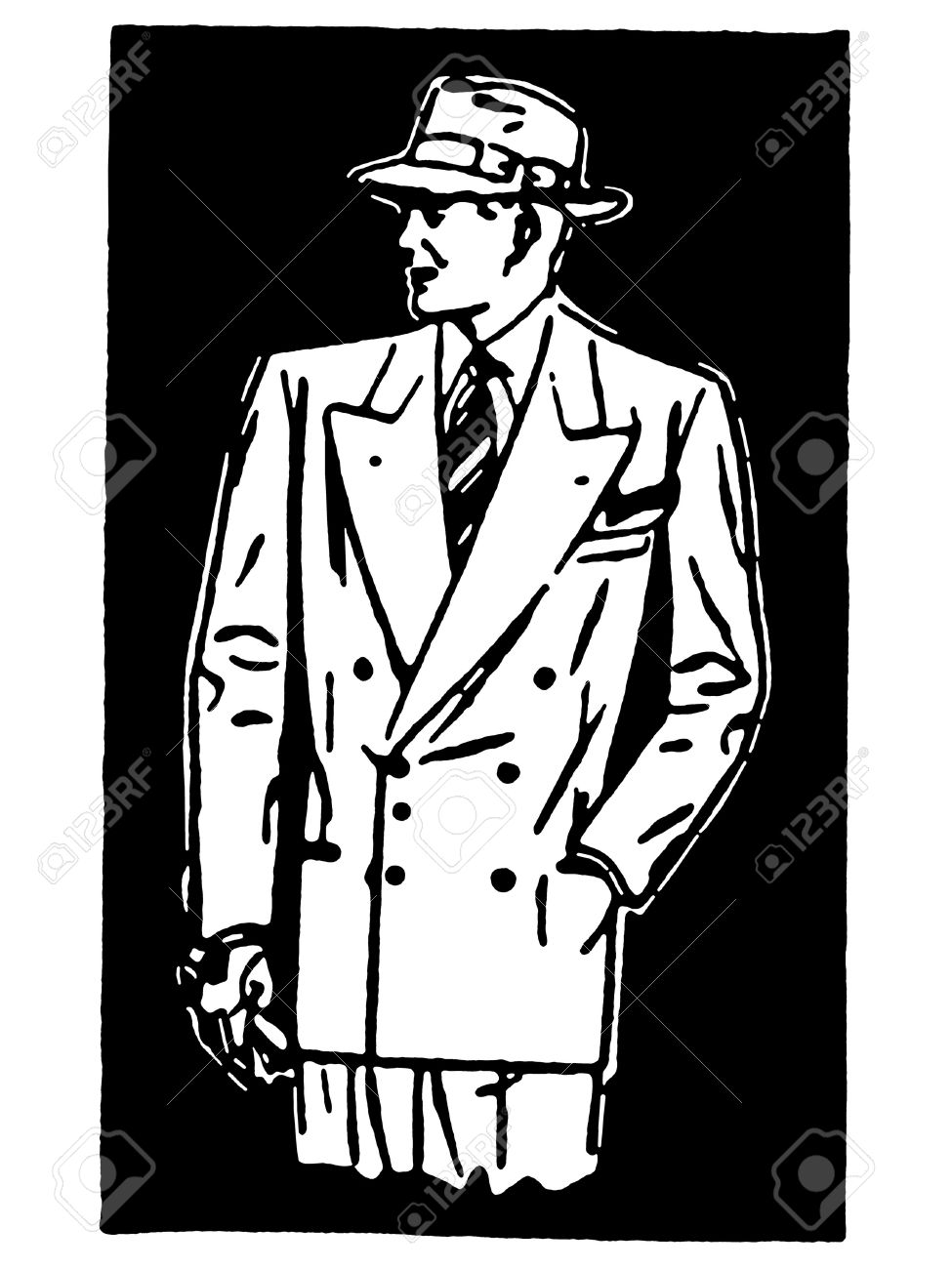 10d97920210 A black and white version of a graphical drawing of a detective character  Stock Photo -