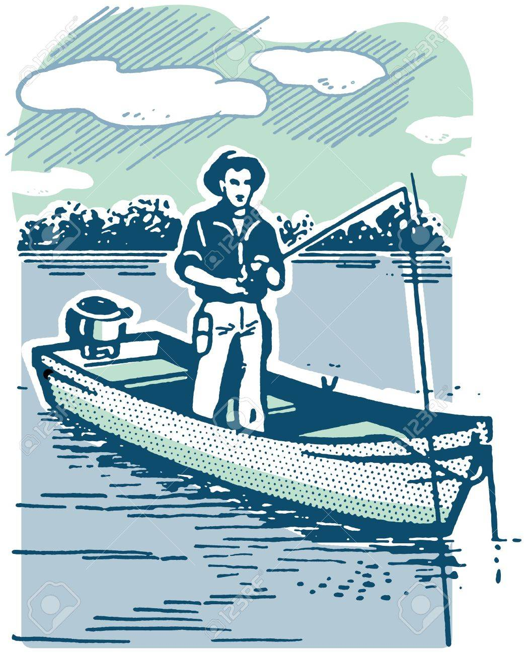 A vintage image of a man fishing Stock Photo - 14918463