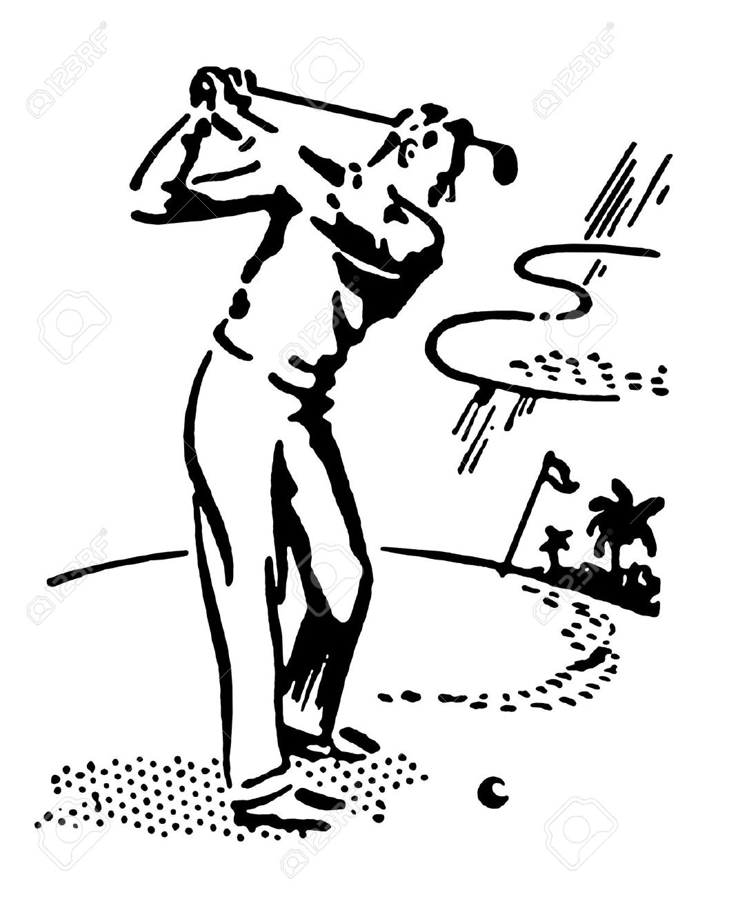 A black and white version of a vintage illustration of a man playing golf Stock Illustration - 14917510